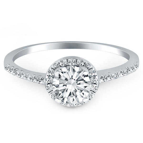 14k White Gold Diamond Halo Collar Engagement Ring - THE LUSTRO HUT