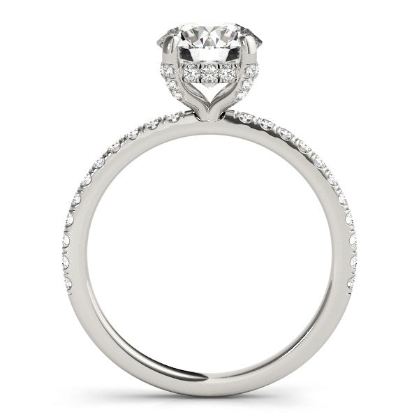 14k White Gold Diamond Engagement Ring with Scalloped Row Band (2 1/4 cttw) - THE LUSTRO HUT