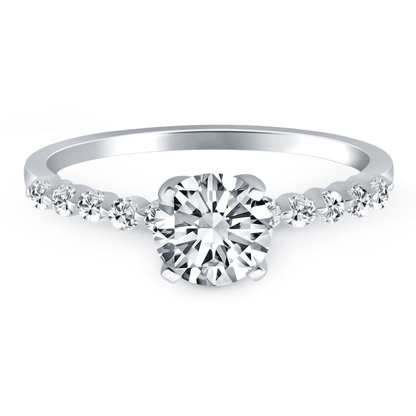 14k White Gold Diamond Engagement Ring with Shared Prong Diamond Accents - THE LUSTRO HUT