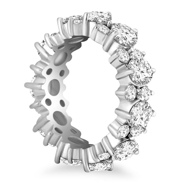 14k White Gold Ornamental Round Diamond Eternity Ring - THE LUSTRO HUT