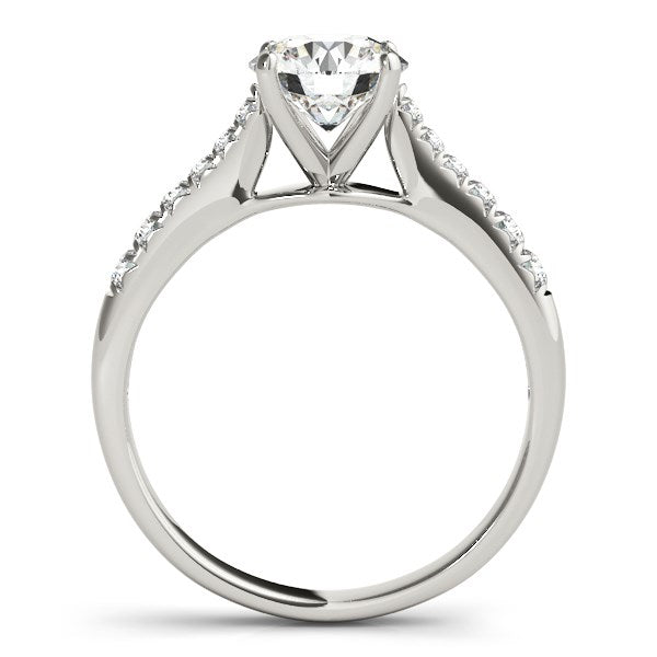 14k White Gold Round Cut Diamond Engagement Ring  (1 5/8 cttw) - THE LUSTRO HUT