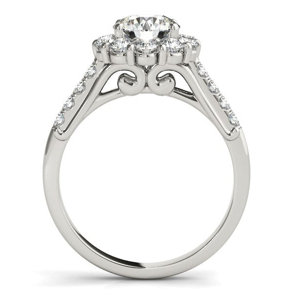 14k White Gold Round Diamond Halo Engagement Ring (2 1/2 cttw) - THE LUSTRO HUT