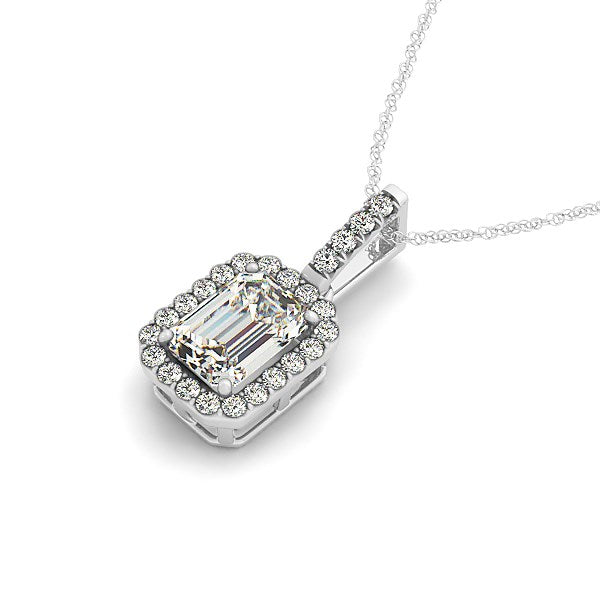 Halo Pendant With Emerald Center Diamond in 14k White Gold (1 1/5 cttw) - THE LUSTRO HUT
