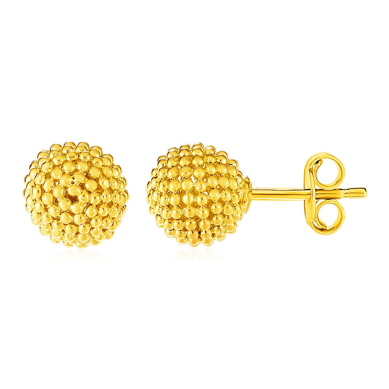 14k Yellow Gold Post Earrings with Beaded Spheres