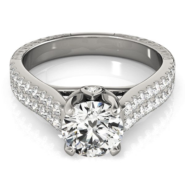 14k White Gold Round Diamond Engagement Ring with Pave Band (2 cttw) - THE LUSTRO HUT