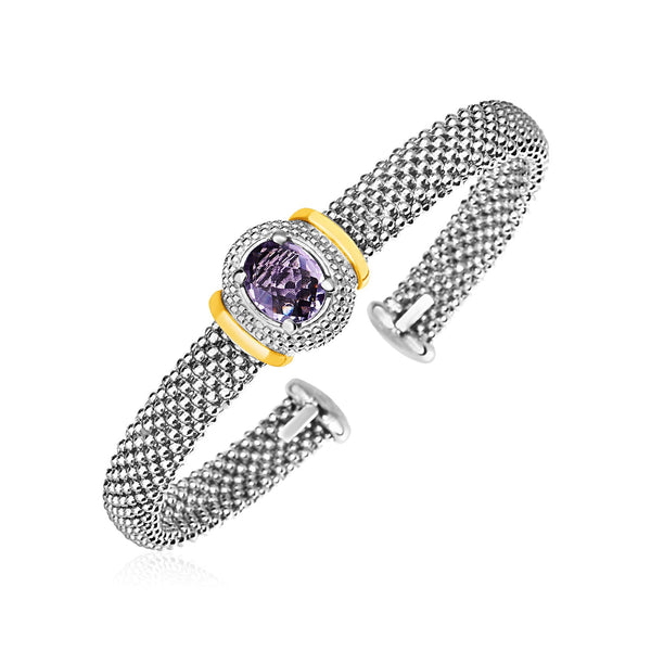 Popcorn Cuff Bangle with Oval Amethyst in Sterling Silver and 18k Yellow Gold