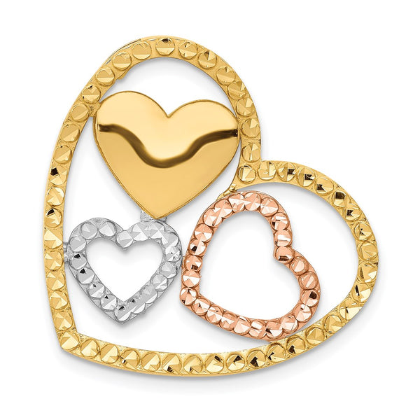 14K Yellow & Rose Gold w/Rhodium Heart Chain Slide