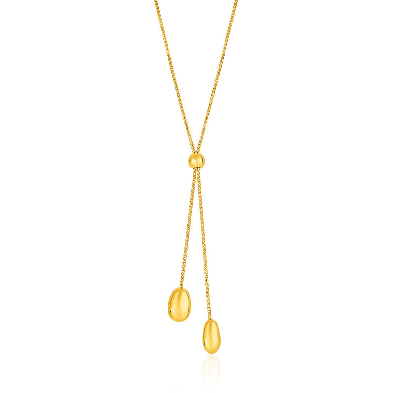 14k Yellow Gold Textured Lariat Necklace with Rounded Beads