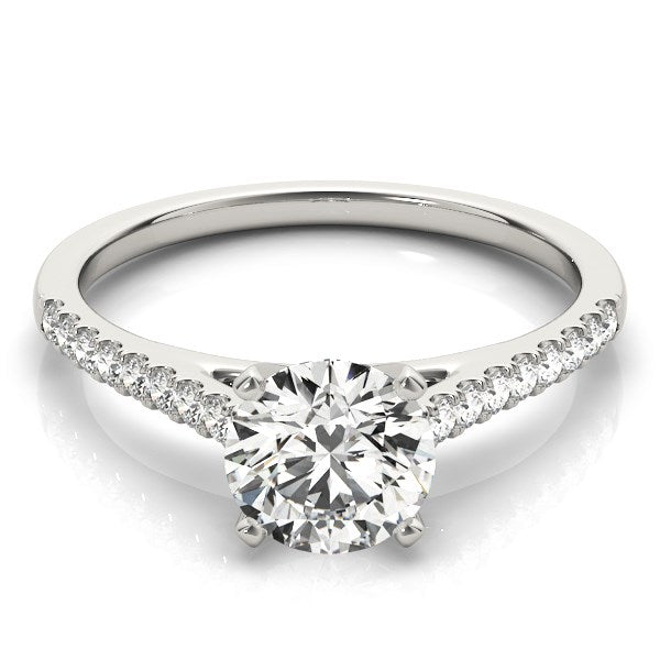 14k White Gold Pronged Round Diamond Engagement Ring (1 5/8 cttw) - THE LUSTRO HUT