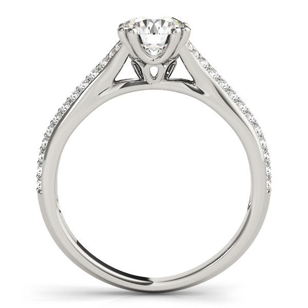 14k White Gold Double Prong Multirow Band Diamond Engagement Ring (1 1/8 cttw)