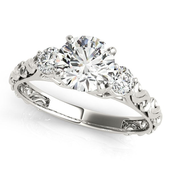 14k White Gold Antique Design 3 Stone Diamond Engagement Ring (1 3/4 cttw)