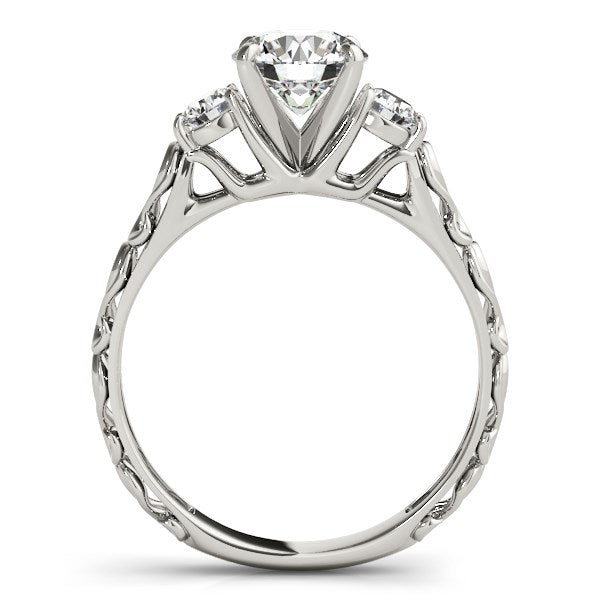 14k White Gold Antique Design 3 Stone Diamond Engagement Ring (1 3/4 cttw) - THE LUSTRO HUT