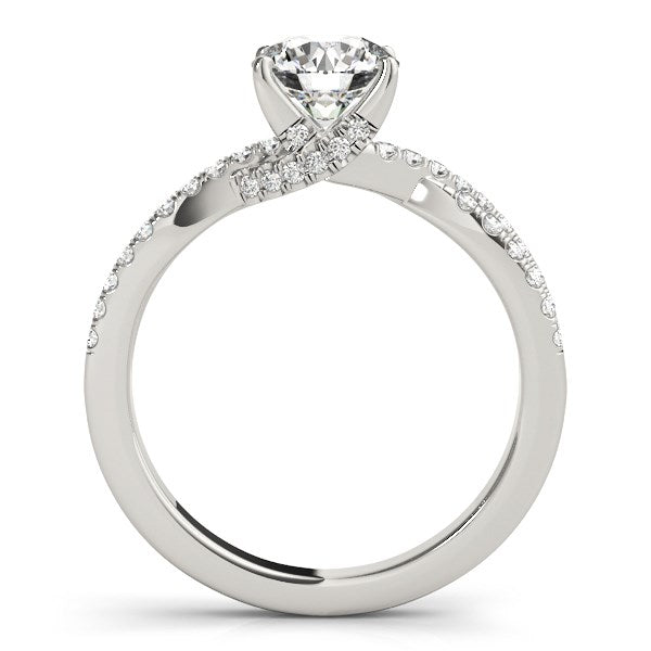 14k White Gold Fancy Prong Split Shank Diamond Engagement Ring (1 1/4 cttw) - THE LUSTRO HUT
