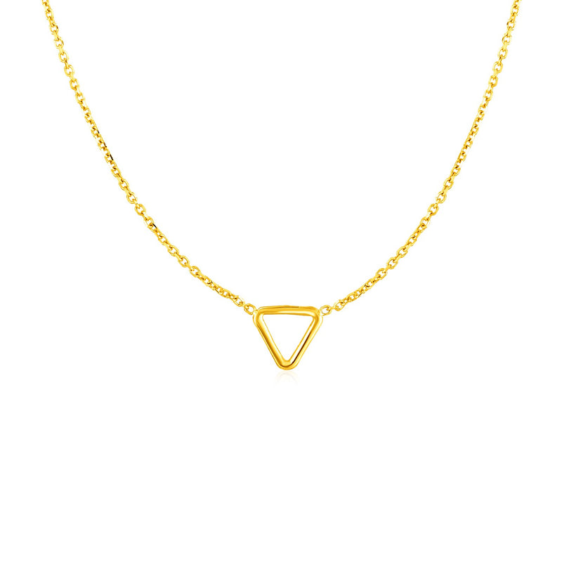 14k Yellow Gold Necklace with Petite Open Triangle Pendant