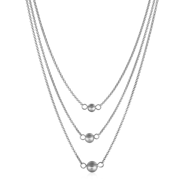 Three-Chain Ball Necklace in Sterling Silver