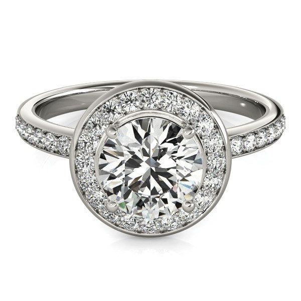 14k White Gold Round Halo Diamond Engagement Ring (1 1/2 cttw) - THE LUSTRO HUT