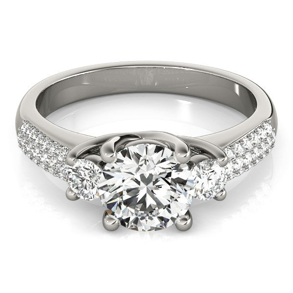 14k White Gold 3 Stone Pave Set Band Diamond Engagement Ring (1 7/8 cttw) - THE LUSTRO HUT