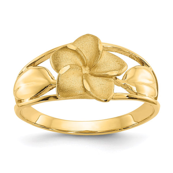 14k Satin & Diamond-Cut Plumeria Ring