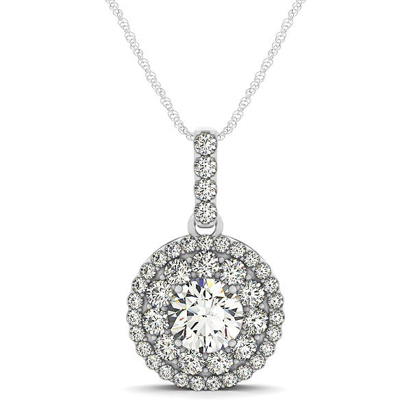 14k White Gold Diamond Halo Round Shape Pendant (1 1/4 cttw)