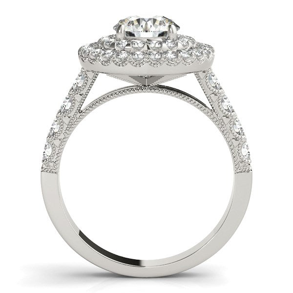 14k White Gold Diamond Engagement Ring with Double Pave Halo (2 5/8 cttw) - THE LUSTRO HUT