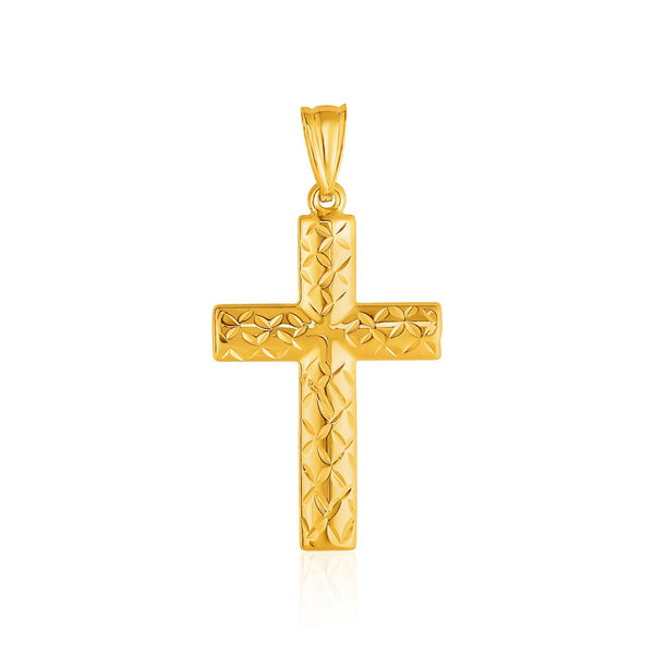 14k Yellow Gold Reversible Textured Cross Pendant