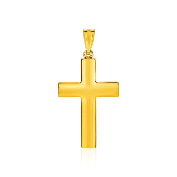 14k Yellow Gold Reversible Textured Cross Pendant - THE LUSTRO HUT