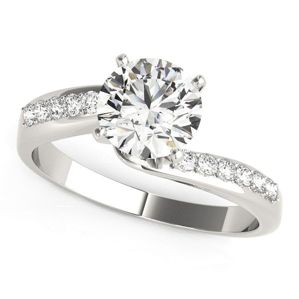 14k White Gold Bypass Round Pronged Diamond Engagement Ring (1 5/8 cttw)