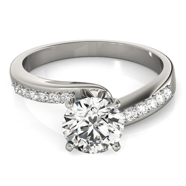 14k White Gold Bypass Round Pronged Diamond Engagement Ring (1 5/8 cttw) - THE LUSTRO HUT