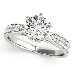 Six Prong 14k White Gold Diamond Engagement Ring with Pave Band (1 5/8 cttw)