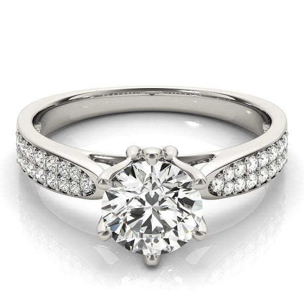 Six Prong 14k White Gold Diamond Engagement Ring with Pave Band (1 5/8 cttw) - THE LUSTRO HUT