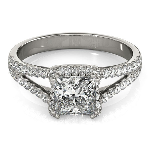 14k White Gold Princes Cut Halo Split Shank Diamond Engagement Ring (2 cttw) - THE LUSTRO HUT