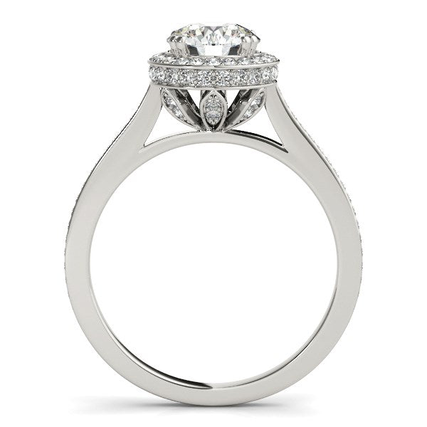 14k White Gold Classic Channel Slim Shank Diamond Engagement Ring (2 cttw) - THE LUSTRO HUT