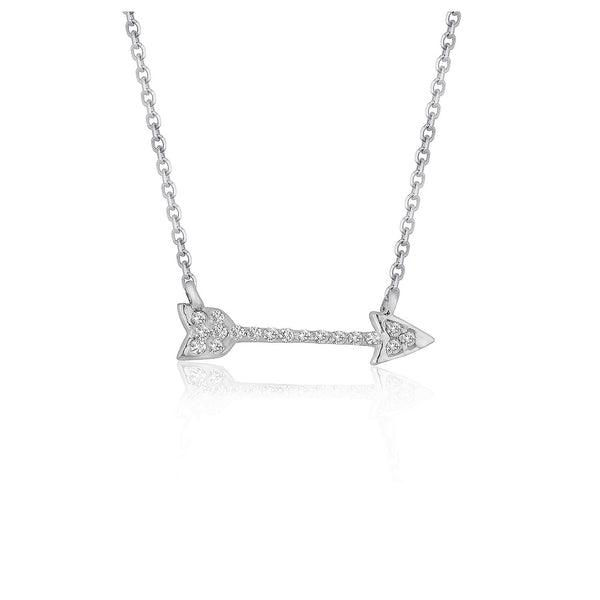Diamond Arrow Style Pendant in 14k White Gold (1/10 cttw)