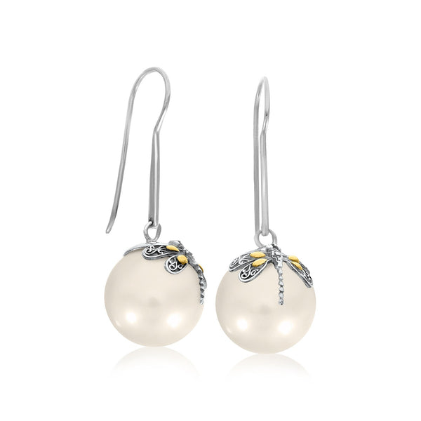 18k Yellow Gold & Sterling Silver Shell Pearl Earrings with Dragonfly Accents
