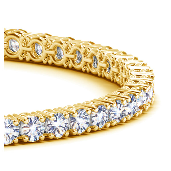 14k Yellow Gold Round Diamond Tennis Bracelet (10 cttw) - THE LUSTRO HUT