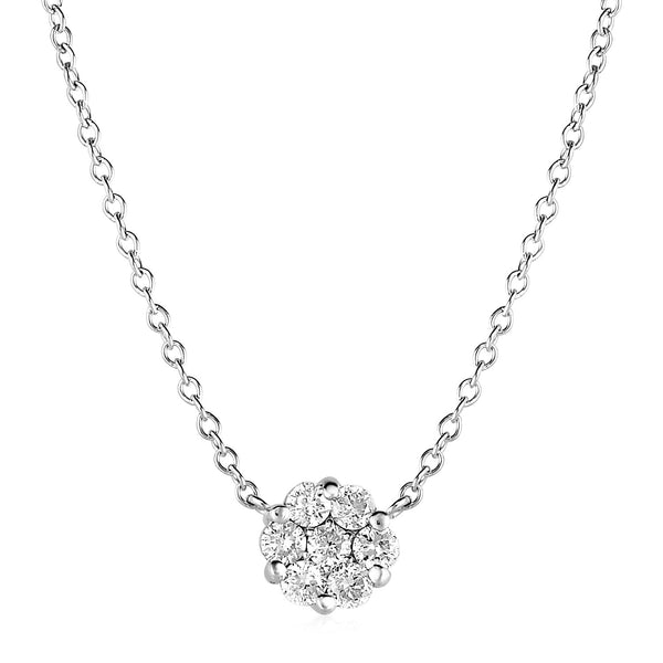 14k White Gold Necklace with Round Pendant with Diamonds