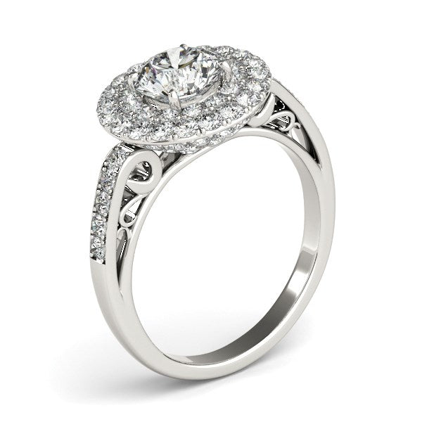 14k White Gold Diamond with Two-Row Pave Border Engagement Ring (2 cttw) - THE LUSTRO HUT