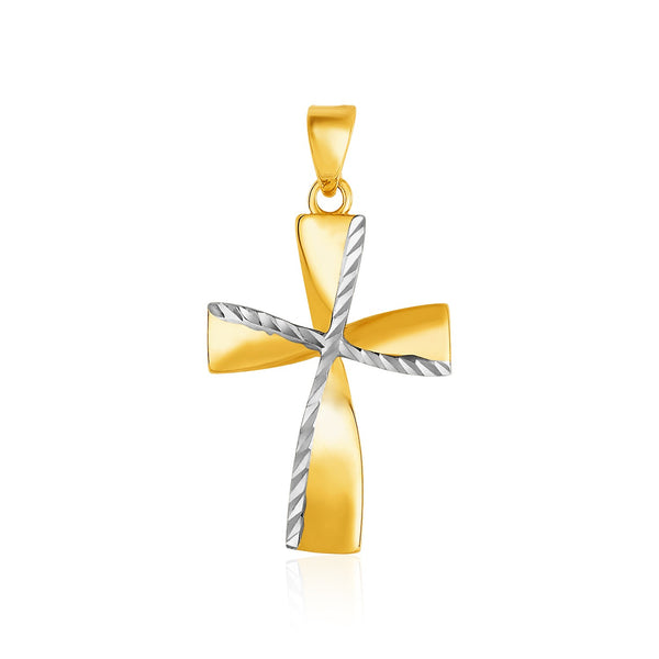 14k Two-Toned Yellow and White Gold Textured Cross Pendant