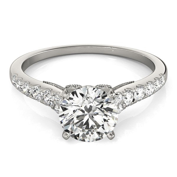 14k White Gold Diamond Engagement Ring With Single Row Band (1 3/4 cttw) - THE LUSTRO HUT