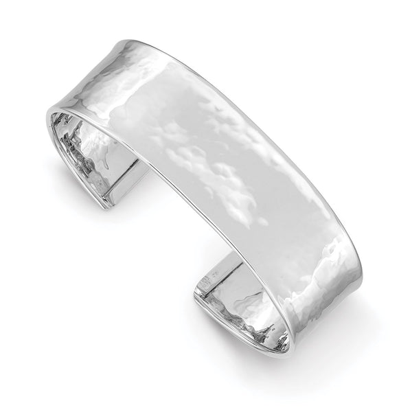 14k White Gold 19mm Lightly Hammered Polished Bangle