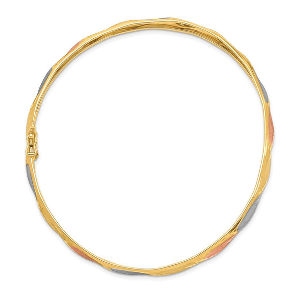 14K Yellow Gold White & Rose Rhodium Satin D/C Flex Bangle