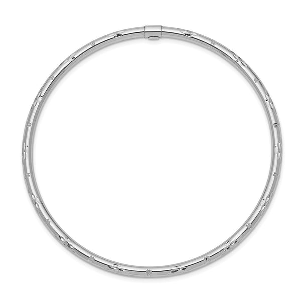 14k White Gold Polished D/C Slip on Bangle