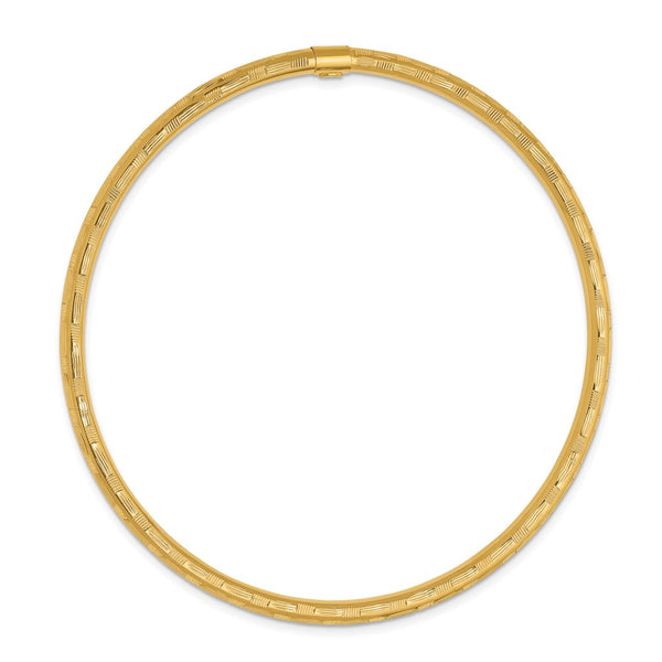 14k Yellow Gold Diamond-cut Slip on Bangle