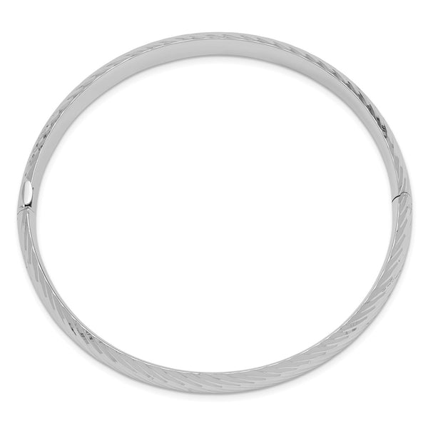 14k White Gold 5/16 Textured Bangle