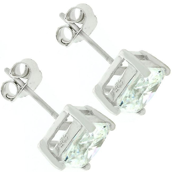 Sterling Silver Princess Cut Stud Earrings - THE LUSTRO HUT