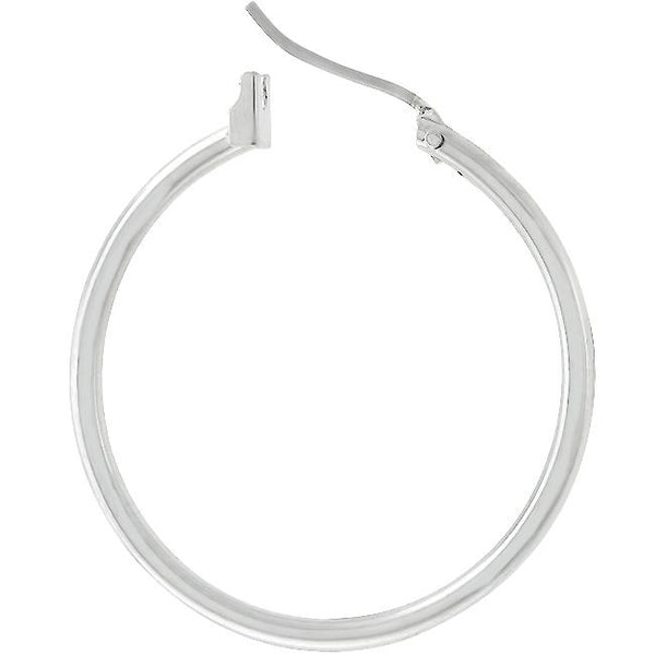 Silvertone Finish Hoop Earrings