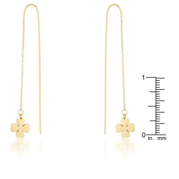 Patricia Gold Stainless Steel Clover Threaded Drop Earrings - THE LUSTRO HUT