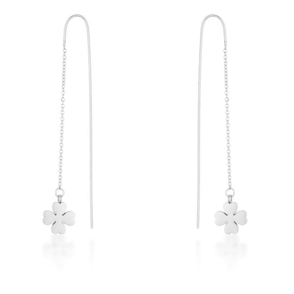 Patricia Rhodium Stainless Steel Clover Threaded Drop Earrings - THE LUSTRO HUT
