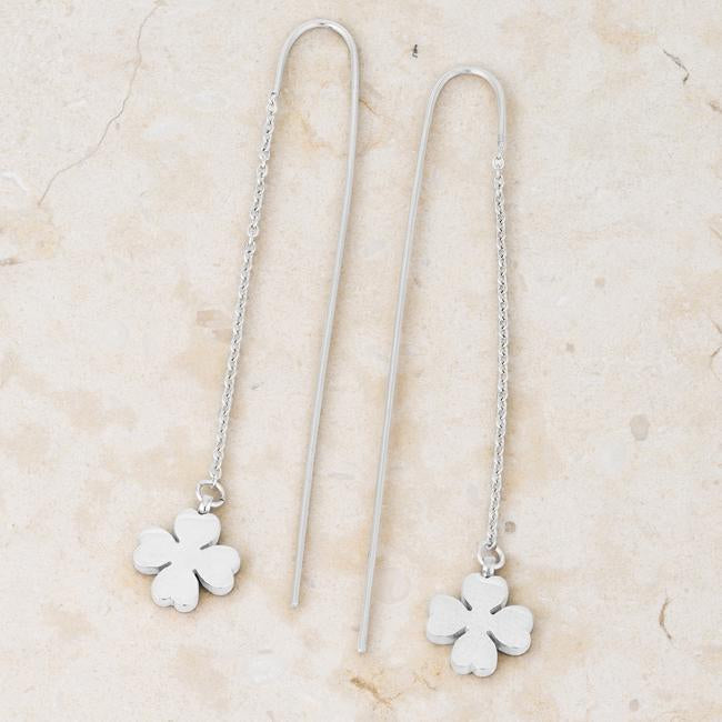 Patricia Rhodium Stainless Steel Clover Threaded Drop Earrings