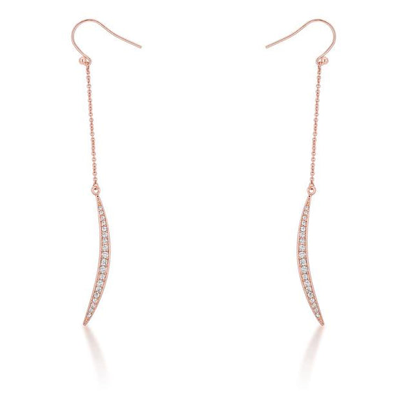 Luna 0.5ct CZ Rose Gold Delicate Moon Drop Earrings - THE LUSTRO HUT